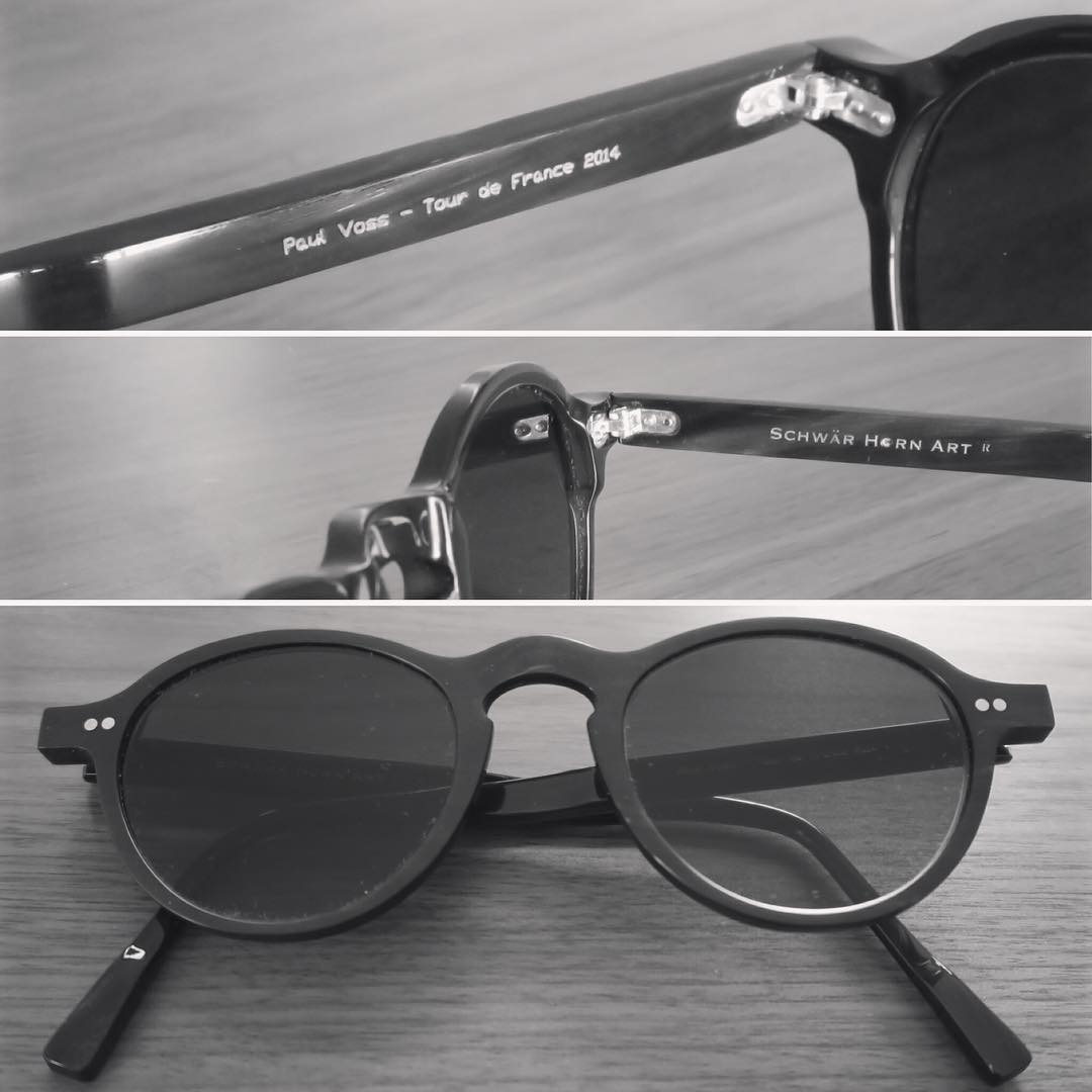 Just got my loved 'Schwär Horn Art' sunglasses back. They are custom made and I got them as a present for finishing my first 'Tour de France' in 2014. Big thanks to my close friends, the Schwär family! schwaer-horn-art.de